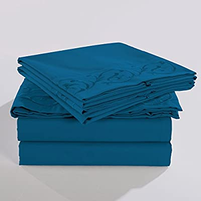 "HIG Embroidered Bed Sheets Set–2800 Supreme Collection – Scroll Flowers Embroidery 288F Double Brushed Microfiber - Wrinkle Free, Fade Resistant, Ultra Soft - 4 Pieces Bedding Set (Queen,Turquoise) - Solid Color: Turquoise, Size: Queen, Pattern: Scroll Embroidery 1pc Flat Sheet 92"" x 104"", 1pc Fitted Sheet 60"" x 80""+14"", and 2pcs Standard Pillow Cases 20"" x 30"" Embroidery not only on the Pillow Case, but also on Flat Sheet - sheet-sets, bedroom-sheets-comforters, bedroom - 41K1dJlu7FL. SS400  -"