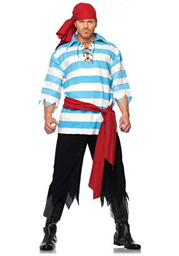 Leg Avenue Men's Pillaging Pirate Costume, Blue/White, X-Large (Male Costume Halloween)