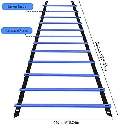 Fútbol Entrenamiento Escalera para Velocidad Agilidad Coordinación con 6 metros 12 Peldaño (Azul): Amazon.es: Deportes y aire libre