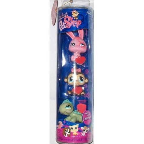 Littlest Pet Shop Limited Edition Valentine Tube with Pink Bunny #500 Brown Monkey and Green Iguana #499 #501