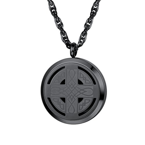 Celtic Knot Cross Diffuser Necklace,Locket,Aromatherapy Necklace,Stainless Steel Essential Oil Diffuser,Essential Oil Necklace,Womens Jewelry,Valentines Day,Black Necklace,Gifts,Diffuser 30mm,PSP2963H
