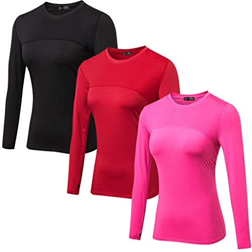 (Sportides Women's 3 Pack Sports Compression Breathable Long Sleeve T-Shirt Top SMC025 PackC XL)
