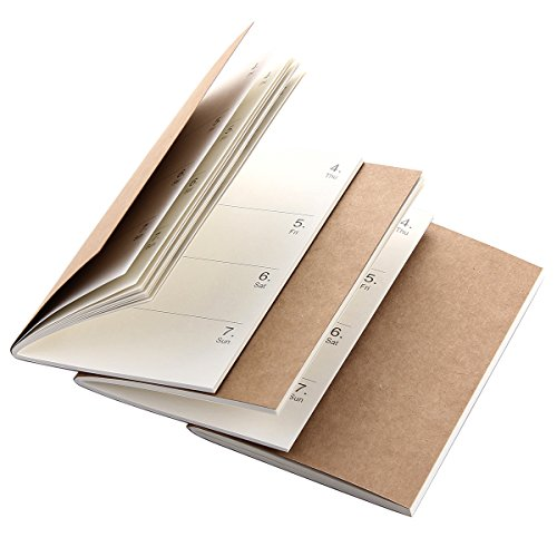 Refill Inserts for Pocket Leather Travelers Notebook 5.2 × 4 - Set of 3 - Weekly