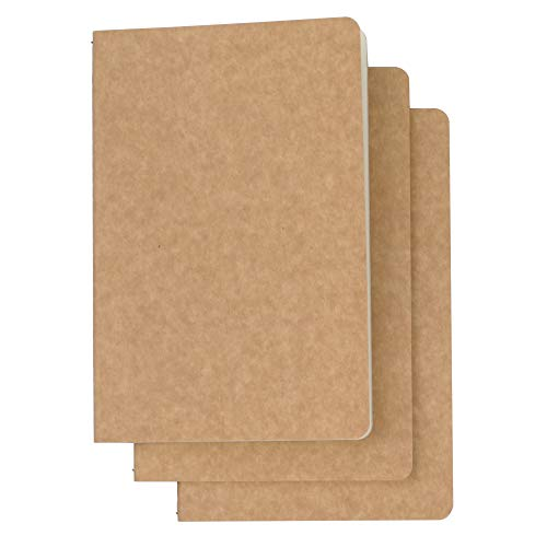 3 Pack Travel Journal Notebook for Travelers or School - Kraft Brown Soft Cover - A5 Size - 210 mm x 140 mm - 120 Ruled Pages/60 Sheets ()
