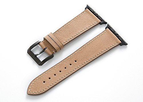 Italian-Retro-Calf-leather-Brown-Watch-Strap-with-Polished-Pin-buckle-fit-42mm-Apple-Watch-Band