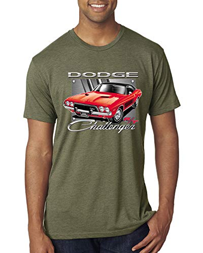 Dodge Challenger R/T Classic Licensed Retro | Mens Cars and Trucks Premium Tri Blend T-Shirt, Military Green, Small
