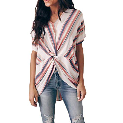 (ALLYOUNG Women's Fashion Short Sleeve Comfortable Stripe Tee Casual Popular Blouse Loose Tops)