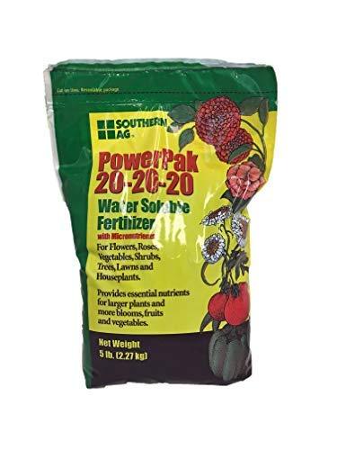 - Southern Ag PowerPak 20-20-20 Water Soluble Fertilizer w/micronutrients, 5lb bag