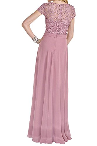 Charmant Spitze Kurzarm Abendkleider Abiballkleider Festlich Promkleider Ballkleider Damen Rosa Champagner Lang Ixtwxrqf4