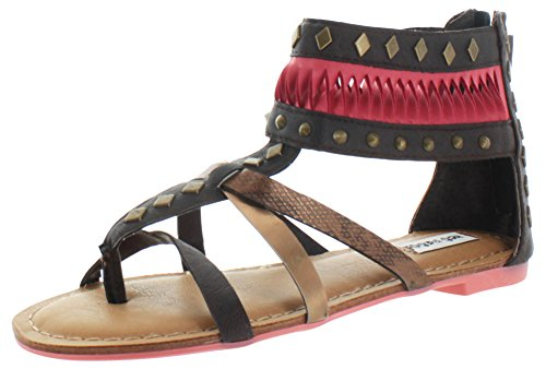 Not Rated Lemon Twist Women's Gladiator Thong Sandals Brown Size (Snakeskin Thong Sandals)