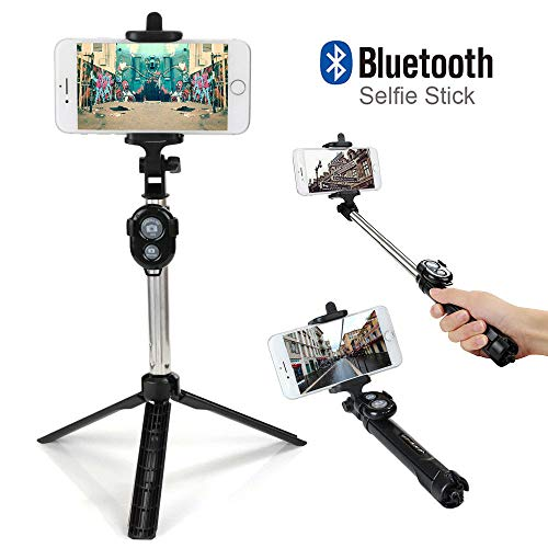 Wanzi Extendable Selfie Stick Tripod Wireless Remote Bluetooth Shutter Fit Android and More Smartphones,Mini Folding Size Selfie Stick (Black)