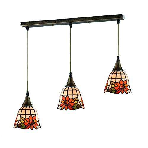 TopDeng Tiffany Style 3-Lights Pendant Light, E26 Hanging lamp for Kitchen Island Restaurant Light Fixture with Colored Glass Handmade-Rectangle