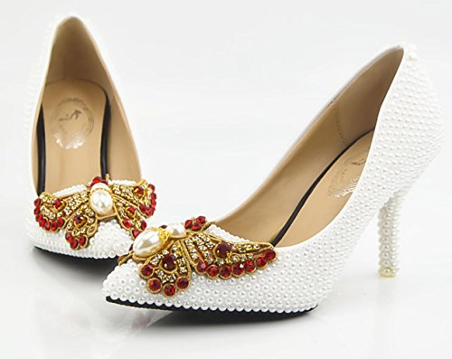 CSDM Diamanti donne scarpe da sposa cristallo Handmade Shoes Pearl farfalla fiori di alta - con tacco impermeabili Scarpe Sposa Abito , white , 38
