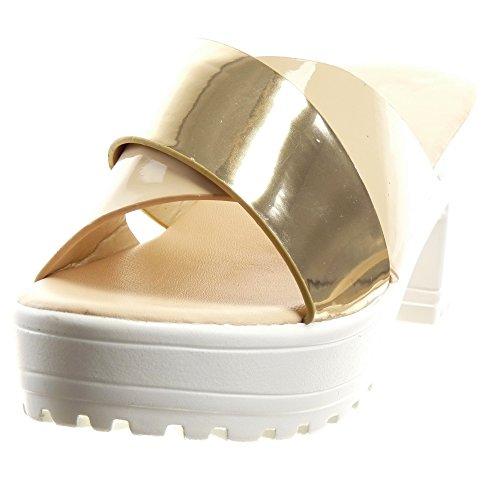 Sopily - Scarpe da Moda sandali Aperto Zeppe alla caviglia donna lucide Tacco a blocco tacco alto 7 CM - Beige