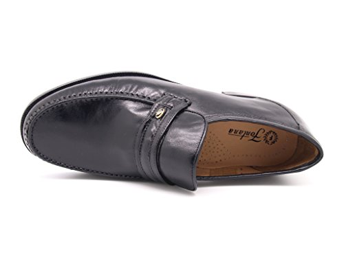 slip with Fontana with non And manufacture Linings Artisan Leather sole leather rubber Black Slippers Moccasin Uppers 1qqwOf