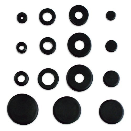 (125pc Rubber Grommet & Plug Assortment - Includes Solid Plugs - Automotive, Airplane, Marine Applications)
