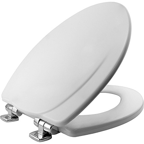 MAYFAIR Toilet Seat with Chrome Hinges will Slow Close and Never Come Loose, ELONGATED, Durable Enameled Wood, White, 130CHSLB 000