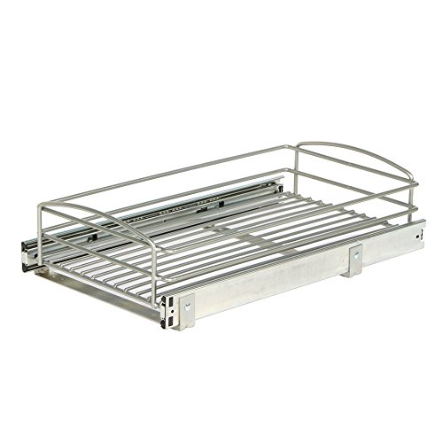 Knape & Vogt MUB-11-R-FN Frosted Nickel Multi-Use Basket Cabinet Organizer, 5.32 by 11.75 by 20-Inch