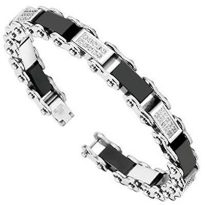 Wide Link Diamond Bracelet (Black and Polished Links Motorcycle Chain Bracelet with Simulated Diamonds 16MM WIDE - 8.5 Inch)