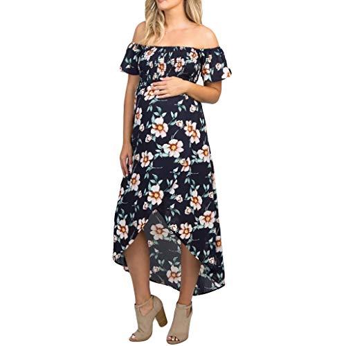 Answerl Women Ruffle Off Shoulder Floral Print Maxi Boho Dress Short Sleeve Elasticity Casual Maternity Wear Navy