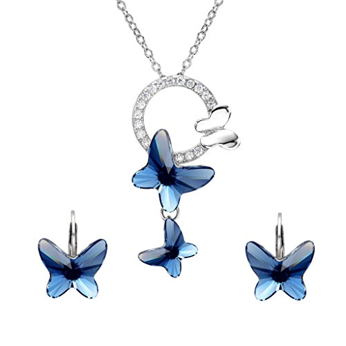 EleQueen 925 Sterling Silver Butterfly Denim Blue Jewelry Made with Swarovski Crystals Pendant Necklace Stud Earrings Set Butterfly Sterling Silver Jewelry Set