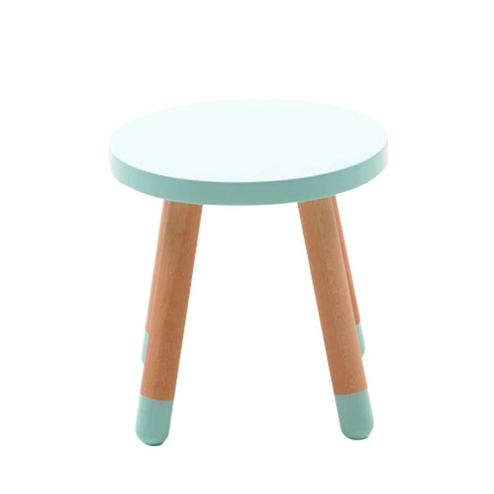 vert Round Stool ZH Table et Tabouret Rond en Bois pour Enfants, Table D'éTude pour Enfant, Table de Chevet Moderne EuropéEnne, Plateau de Table Rond et 4 Pieds de Soucravaten