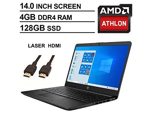 2020 Newest HP 14 Inch Premium Laptop, AMD Athlon Silver 3050U up to 3.2 GHz(Beat i5-7200U), 4GB DDR4 RAM, 128GB SSD, Bluetooth, Webcam,802.11AC WiFi,Type-C, HDMI, Windows 10 S, Jet Black + Laser HDMI