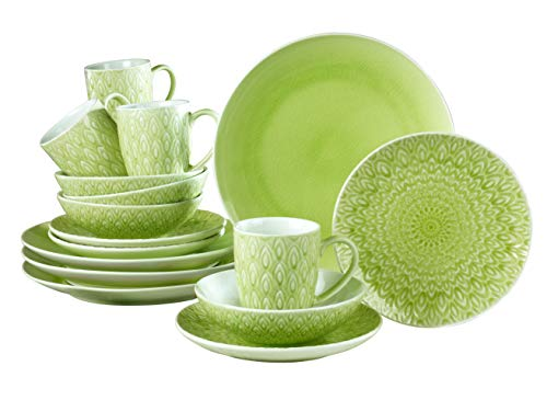 Euro Ceramica 16-Piece Peacock Dinnerware Set, Green
