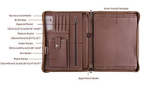 Calfinder Schreibmappe DIN A4 Mappe-Tablet Organizer Tasche, leder Konferenzmappe mit Reißverschluss für iPad Pro 12.9 2018 3rd / 2020 4 Gen, Hochwertige Aktenmappe mit Schreibblock & Griff, Braun