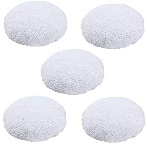 KingBra Car Polisher Bonnet Pads 5Pcs Wool Polishing Bonnet (9 to 10 Inch) Buffing Pad Cover Waxer Pads for Car Polisher
