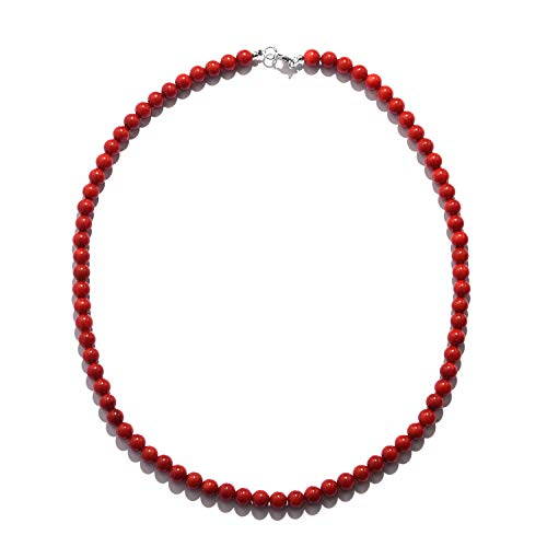 925 Sterling Silver Round Strand Red Coral Beaded Necklace for Women Jewelry Gift 18