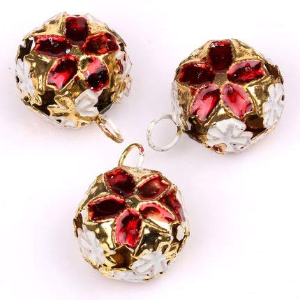 Color: Orange, Item Diameter: 14mm Calvas 30pc//lot 14 18mm Jewelry Jingle Small Bells Metal Bell Beads Christmas Decoration Gift DIY Necklace Bracelet Findings Y1643