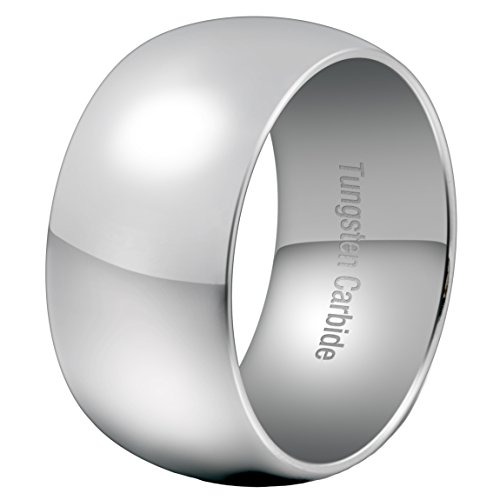 Mens 12mm Classic Silver Tungsten Carbide Ring Wedding Engagement Smooth Domed Wide Band High Polished Size 11 (Wide Polished Band Ring)