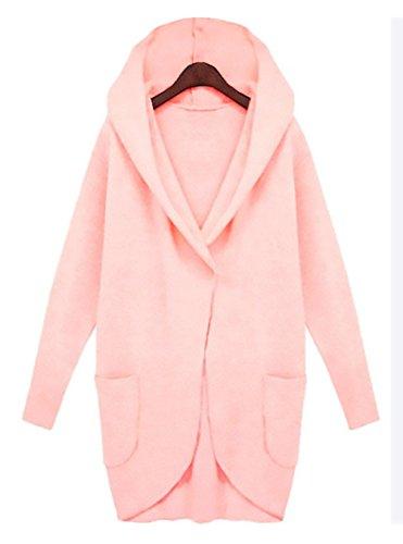 Kimono Cerimonia Elegante Da Del Forti Rose Coat Allentato Colore Lunghi Casuale Moda Cardigan Con Cappuccio Puro Knit Cappotto Donna Outwear Taglie Trench Tasca Sweatercoat Tf5xy4tq