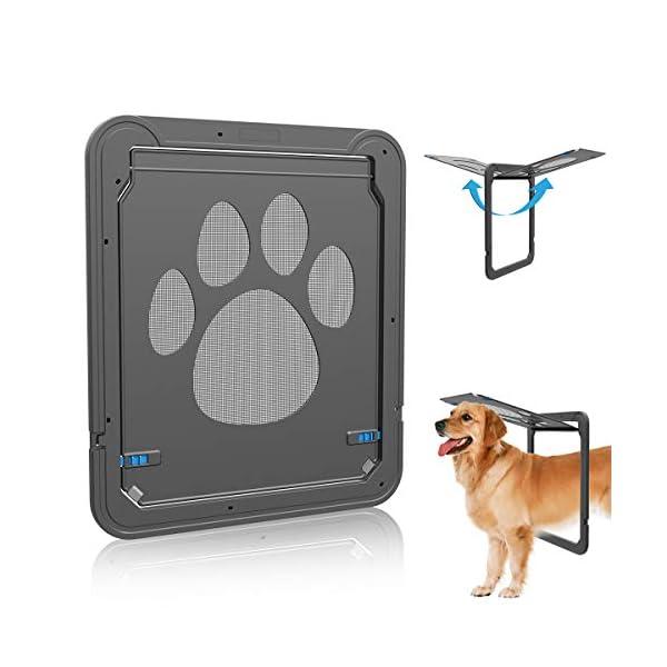 NAMSAN Pet Door for Screen Door Protector Dogs Sliding Screen Doggy Door with Magnetic Flap Automatic Close Lockable Cat…