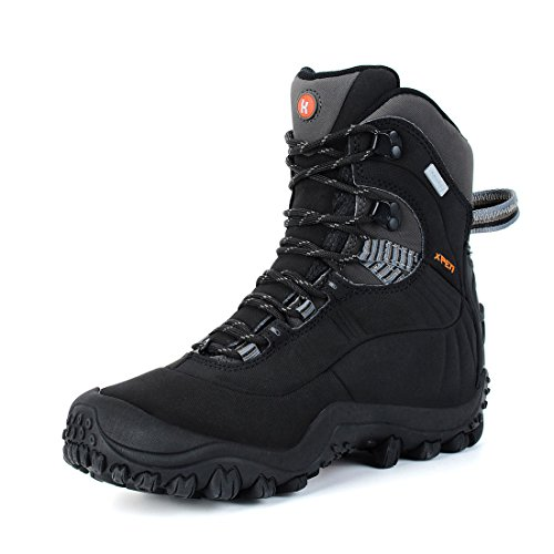 200g Insulated Hunting Boots - Manfen Women's Mid-Rise Waterproof Insulated Hicking Boot (US8.5, Black)