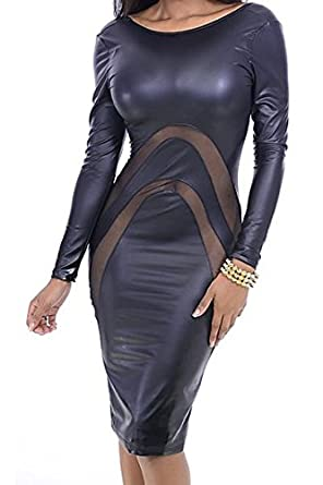 3efc72d989756 Amazon.com: SunShine Sexy Long-Sleeve Leather Dress with Mesh Details L For  Women: Clothing