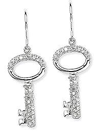 IceCarats 925 Sterling Silver Cubic Zirconia Cz Key Drop Dangle Chandelier Wire Earrings