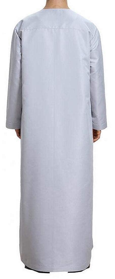 OTW Mens Casual Buttons Long Sleeve Solid Muslim Arab Thobe Caftan
