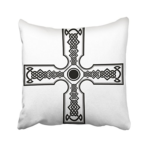 Emvency Throw Pillow Cover Polyester 18X18 Inches Black Abstract Celtic Cross Tattoos For Another Design Ancient Celt Back Clipart Gold Decorative Cushion Pillow Case Square Two Sides Print For Home