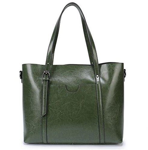 aceite de bolsos Big cuero de Sra Cera compras Bag la cuero de bolsa Portable de Green del Bolsos hombro pxwYqfY
