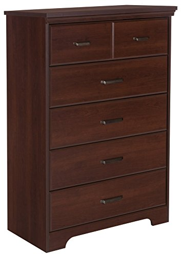 South Shore Versa 5-Drawer Chest, Royal Cherry Antique Brown Metal Finish