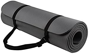 BalanceFrom Go Yoga All Purpose Anti-Tear Exercise Yoga Mat with Carrying Strap, Gray