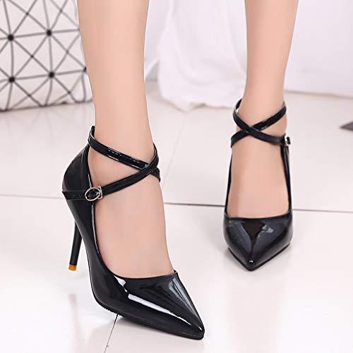 High Femme Open Toe Heels Slip Strap Talons Toe Sexy mode Épais À Chaussures Zyueer Non Noir Simple Cross Femmes 0Edqw5qx