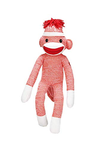 Made By Aliens Adorable Sock Monkey, The Original Traditional Hand Knitted Stuffed Animal Toy Gift-for Kids, Babies, Teens, Girls and Boys Baby Doll Present Puppet 20 Inches Orange from Made By Aliens