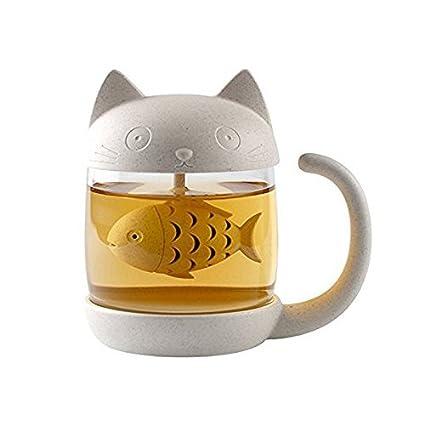 OFKPO Taza de té de Cristal del Gato Taza, Café Botella de Agua,250