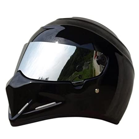 LEAGUE&CO Motorrad Helmets Helm Motorradhelm Helmets Alien Integralhelm Visier Offroad Racing Motocross fü r Honda Yamaha Suzuki Kawasaki Bandit Helm (M, Schwarz (Getö nte)) HELMATV04