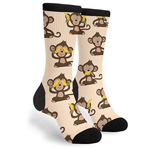 NGFF Monkey Love Banana Men Women Casual Crazy Funny Athletic Fancy Novelty Graphic Crew Tube Socks Moisture Wicking Gift