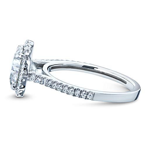 Round Brilliant Forever One Moissanite and Diamond Halo Engagement Ring 2 1/6 CTW 14k White Gold (DEF/VS, GH/I), 5.5 by Kobelli (Image #3)