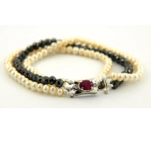 Barishh 30 ct Black Diamonds & Pearls Handcrafted Bracelet 3mm-4mm. AAA.Certified by Barishh